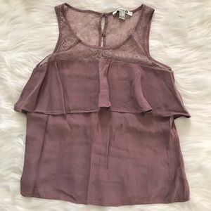 Forever 21 Mauve Sleeveless Lace Ruffle Blouse Top